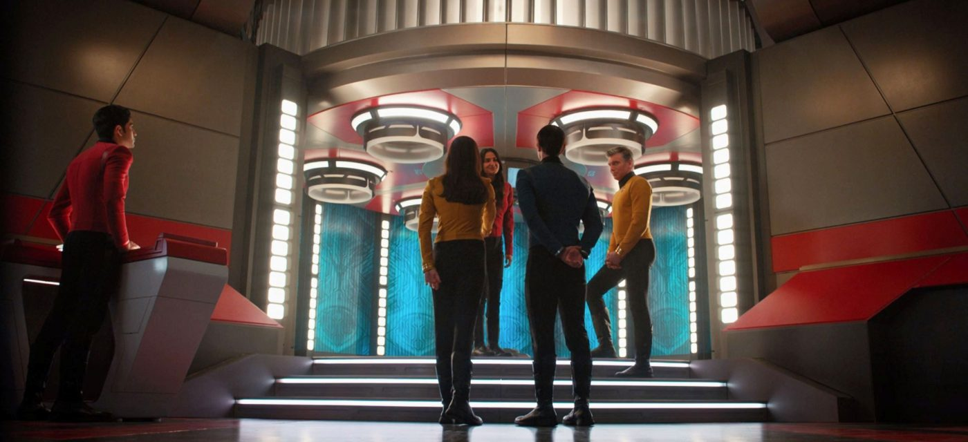 Number One and Spock greet Pike and Cadet Sidhu aboard. - STDP 046 - Ask Not - Short Treks S2E3 (06:46)