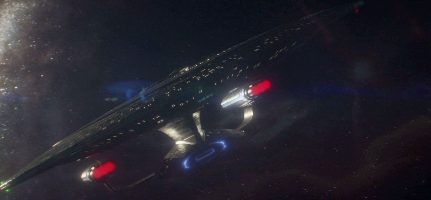 USS Enterprise - NCC-1701-D with a shiny backlight. - STPC 005 - S1E1 Remembrance (00:28)