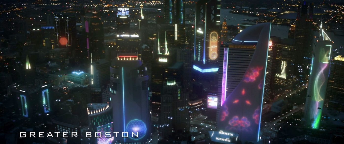 Greater Boston, with familiar logos. - STPC 005 - Star Trek: Picard - S1E1 Remembrance (04:04)