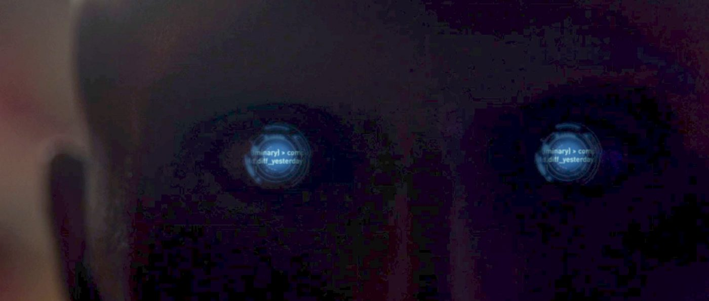Text in F8's eyes which was not there in S1E2. - STPC 007 - S1E3 The End is the Beginning (01:36)