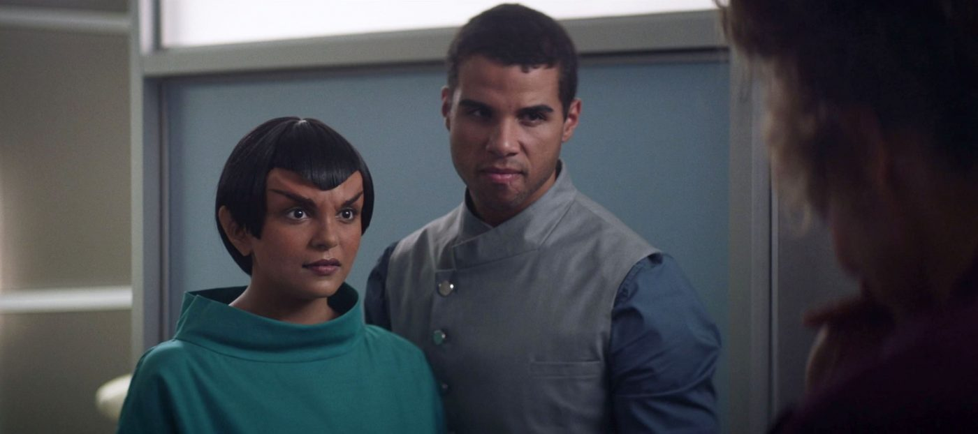 Raffi's son, Gabe, telling his pregnant Romulan wife Raffi's just passing by. - STPC 009 - Star Trek: Picard S1E5 (27:37)