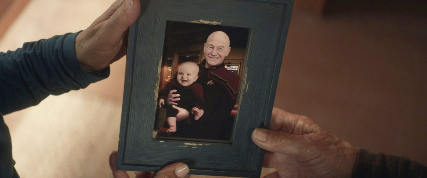 Admiral Picard, holding a young Thad Troi-Riker. - STPC 011 - Star Trek: Picard - S1E7 Nepenthe (23:11)