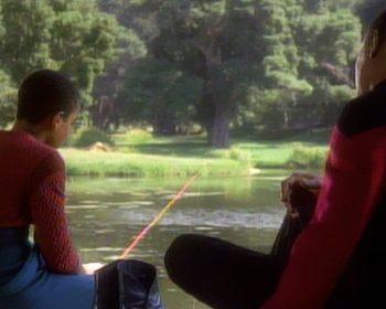 Jake and Sisko fishing in DS9 Emissary