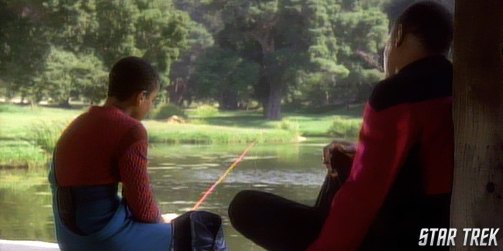 Jake and Sisko fishing in DS9 Emissary